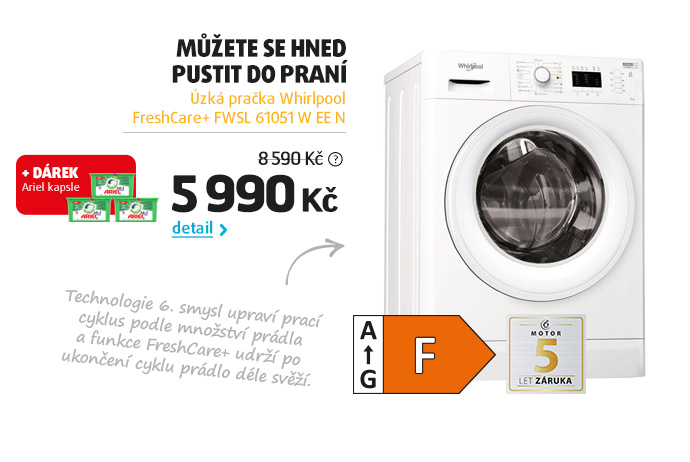 Úzká pračka Whirlpool FreshCare+ FWSL 61051 W EE N