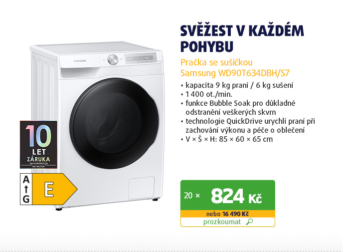 Pračka se sušičkou Samsung WD90T634DBH/S7